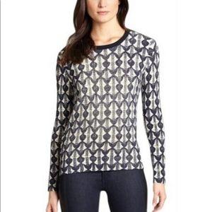 Tory Burch Tia Sweater 100% Merino Wool Navy cream